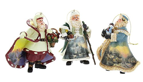 Thomas Kinkade Old World Santa Ornaments (Set of 3) Issue #17