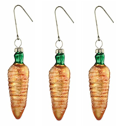 Bethany Lowe Mini Glass Carrot Easter Ornaments, Set of 3