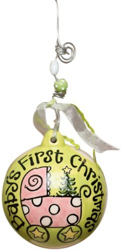Glory Haus Baby's First Carriage Ball Ornament, 4 by 4-Inch, Pink by Glory Haus