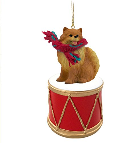 POMERANIAN Red Dog DRUM Christmas Ornament w/Gold String & Scarf DRD03A