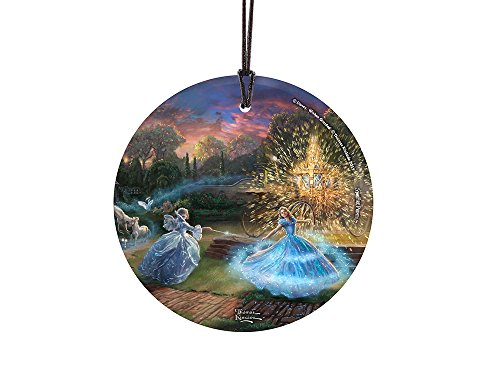 Thomas Kinkade Artwork (Cinderella – Wishes Granted) StarFire Prints(TM) Hanging Glass Ornament – Home and Christmas Tree Decoration