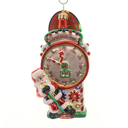 Christopher Radko Time Stopping Surprise Santa Claus and Clock Christmas Ornament