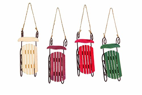 Christmas Holiday Wooden Sleigh Ornament – 4 PACK Assorted Colors, 5.5″ x 2.5″ x 1.5″