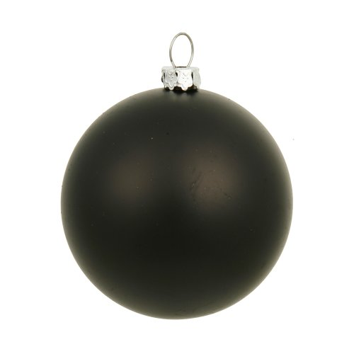 Vickerman Matte Finish Seamless Shatterproof Christmas Ball Ornament, UV Resistant with Drilled Cap, 8″, Black