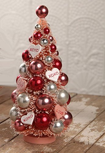 Bethany Lowe Valentine's Day Retro Bottle Brush Tree with Ornaments XOXO Hearts