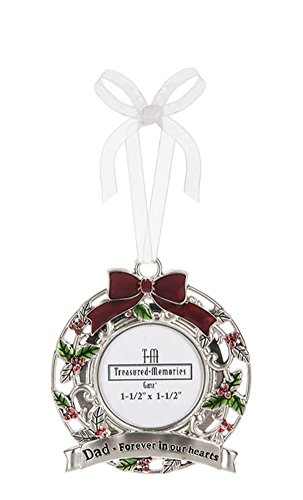 Dad, Forever in Our Hearts Memorial Bereavement Wreath Photo Ornament