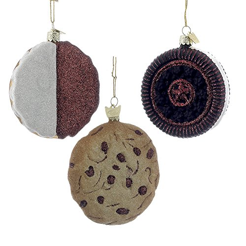 Kurt Adler 3-inch Noble Gems Glass Cookie Ornaments, Set of 3
