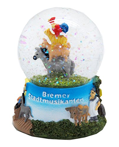 30038 Snow Globe German Fairytales Bremer Stadtmusikanten Musicians from Bremen 3.3 Inch.