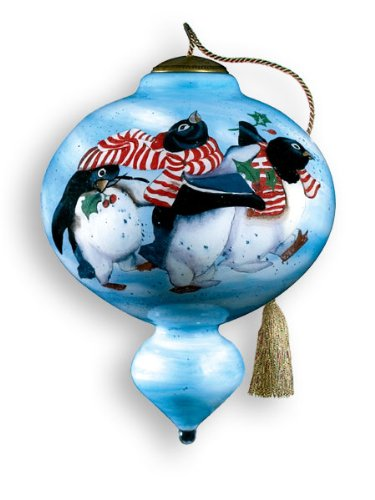 Penguin Holiday Hand Painted Glass Ornament