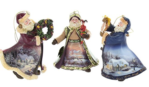 Thomas Kinkade Old World Santa Ornaments (Set of 3) Issue #22