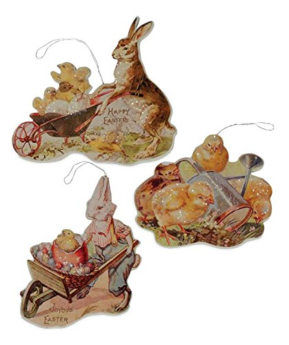 Bethany Lowe Easter Bunny and Chicks Farmers Market Ornament Set of 3
