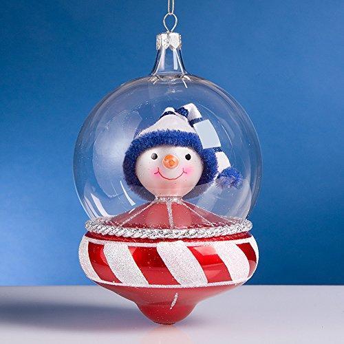 De Carlini Snowman on Space Shuttle Italian Mouthblown Glass Christmas Ornament