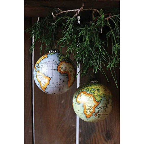 Set of 2 World Globe Ornaments 4-in Creative Coop XC6181A Earth Travel