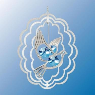 Chrome Plated Dove Oval Ornament – Blue – Swarovski Crystal