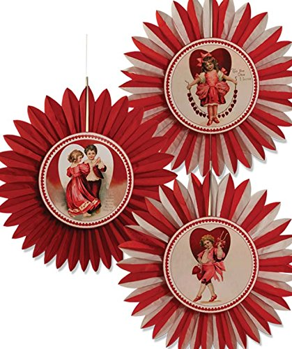 Bethany Lowe Retro Valentine's Day Rosette Set of 3 RL2882