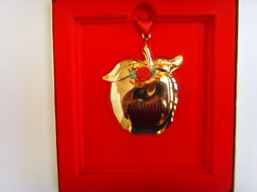 Apple for #1 Teacher Christmas Ornament ; 24 Karat Goldtone