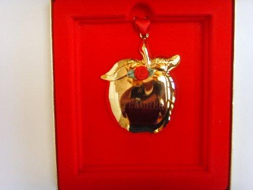 Apple for #1 Teacher Christmas Ornament ; 24 Karat Goldtone