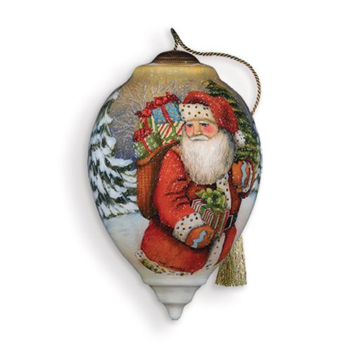 Neqwa Art Woodland Santa Hand-painted Ornament