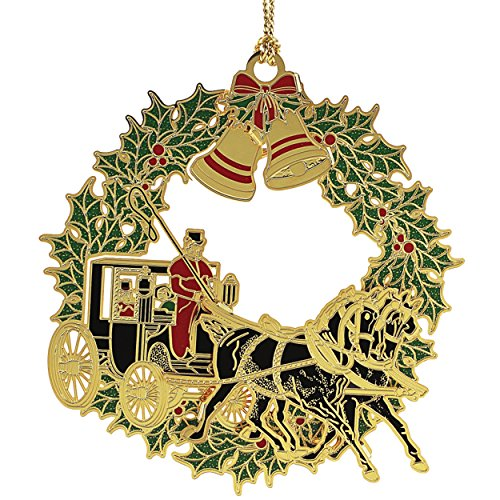 New 24K Gold Christmas Horse & Buggy Christmas Tree Ornament