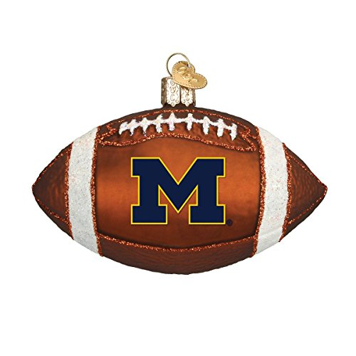 Old World Christmas 60700 Michigan Football Glass Blow Christmas Ornament Michigan Football