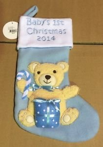 Holiday Lane Christmas Stocking, 2014 Baby First Christmas – Boy