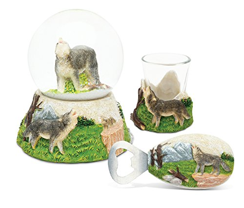 Puzzled Wolf Resin Stone Finish Collection including Snow Globe, Magnet Bottle Opener and Shot Glass – Picture Size 5 by 3 – Unique Elegant Gift and Souvenir