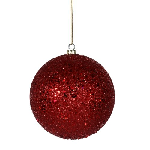 Vickerman Sequin Finish Christmas Ball Ornament Seamless Shatterproof with Drilled Cap, 10″, Red