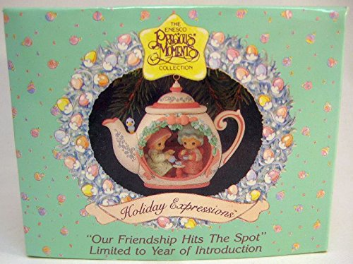 "Precious Moments Christmas Ornament ""Our Friendship Hits The Spot"" Girls Having Tea"