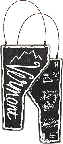 Vermont State Black Wood Ornament