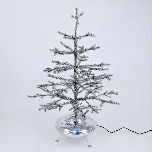 Christmas Tinsel Tree with Spaceship Base and Led Lights, 31 Inches Tall