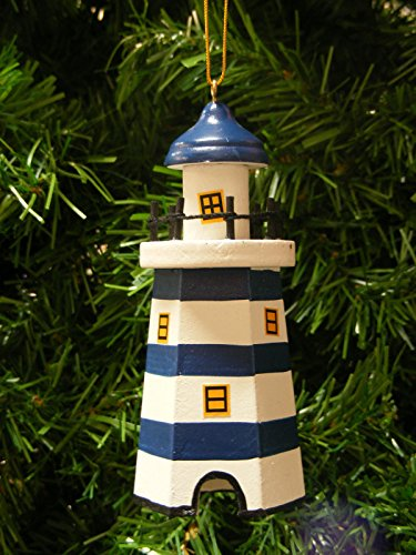 Lighthouse 6 Sided Wooden Coastal Marine Holiday Ornament 4-1/4-in (Blue)
