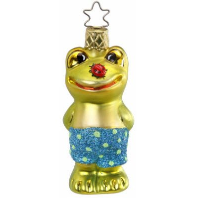 Lucky Bug Frog and Lady Bug Ornament by Inge-Glas of Germany