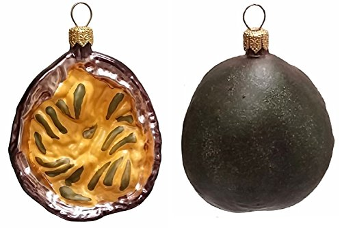 Slice of Passion Fruit Polish Blown Glass Christmas Ornament Set of 2 Decoration