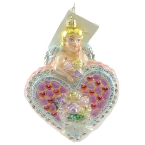 Christopher Radko CUPIDS SURPRISE Blown Glass Ornament Heart Wedding