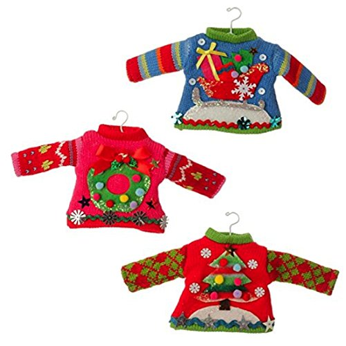 Raz imports Ugly Sweater Christmas Ornaments (Set of 3)