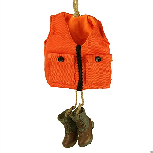 5.5″ Orange Hunting Vest with Matching Brown and Gray Boots Christmas Ornament