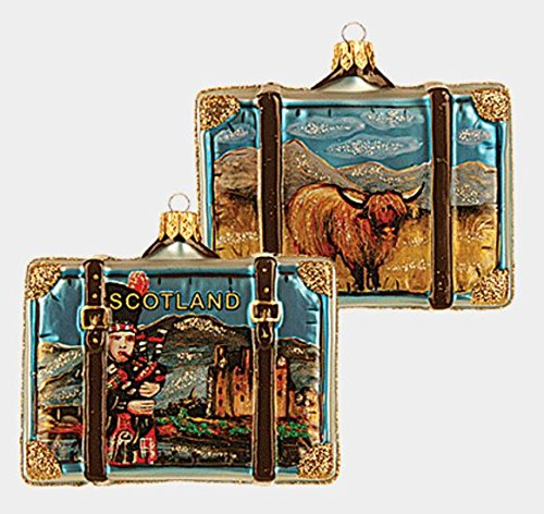 Scotland Travel Suitcase Polish Blown Glass Christmas Ornament Decoration
