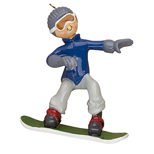 Male Snowboarder Personalized Christmas Tree Ornament
