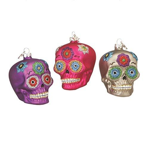 Christmas Holiday Day of the Dead Sugar Skull Dia De Los Muertos Ornaments – 3 Pack, 2.5″ x 2.5″