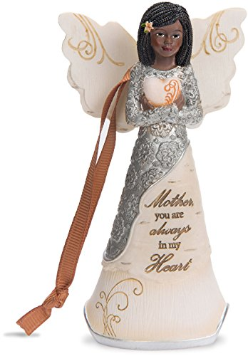 Pavilion Gift Company 82384 Mother You are Always in My Heart Ebony Angel Figurine/Ornament, 4-1/2″