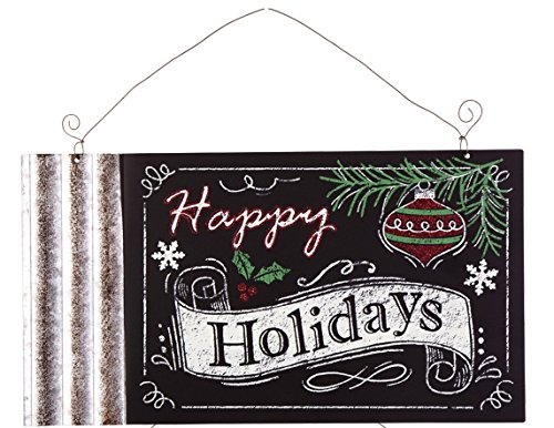 Festive Holiday Galvanized Metal Chalkboard Hanging Sign with Glitter Accents (Happy Holidays)