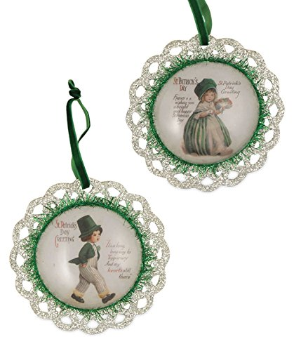Bethany Lowe St Pat Greetings Image Dome Ornament Set LC5443