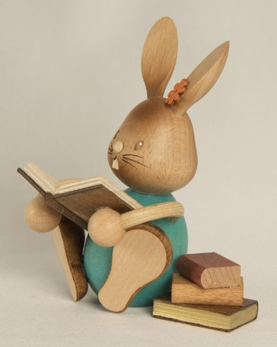 Easter Bunny Rabbit Reading a Book German Wood Figurine Made Erzgebirge Germany
