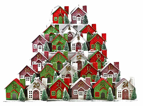 Advent Houses Red & Green Glitter Numbered Hanging Christmas Ornament – 24-piece Set