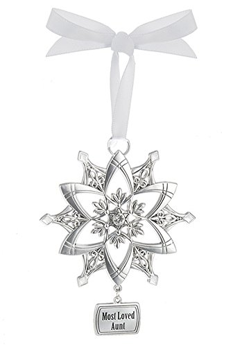 Most Loved Aunt Silver Snowflake Ornament