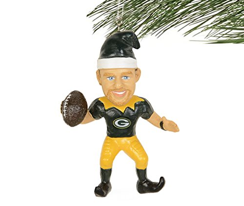 Forever Collectibles NFL Resin Player Elf Christmas Ornament-Green -#12 Aaron Rodgers
