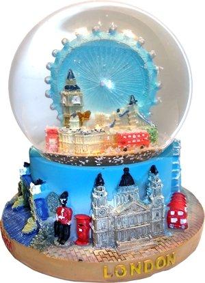 Snow Globe (Small)- Composite, Detailing Famous London Landmarks Including Big Ben, London Eye and Tower Bridge.