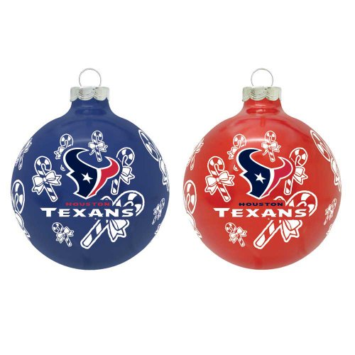 NFL Houston Texans Traditional 2 5/8″ Ornament Set in Primary and Secondary Team Color