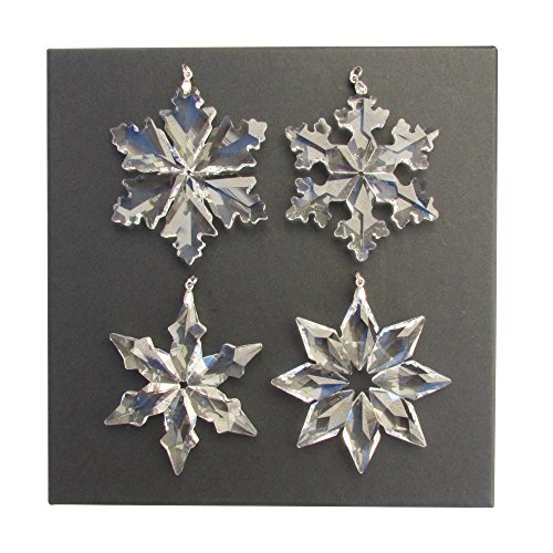Steiner Sports 3-Inch Hanging Iridescent Christmas Crystal Prism Snowflake Star Pattern Ornaments in Jewelry Gift Box, Set of 4