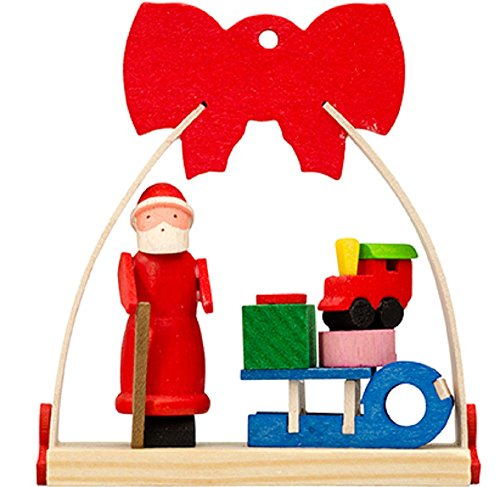 Santa Claus with Sled Presents in Arch with Bow German Wood Christmas Ornament